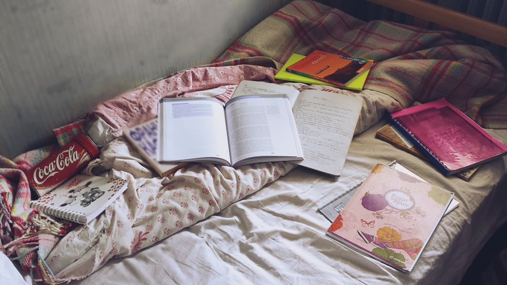 Comfortable Bed, great for studying, really comfy, sleeping, relaxing, my favorite studying enviroment