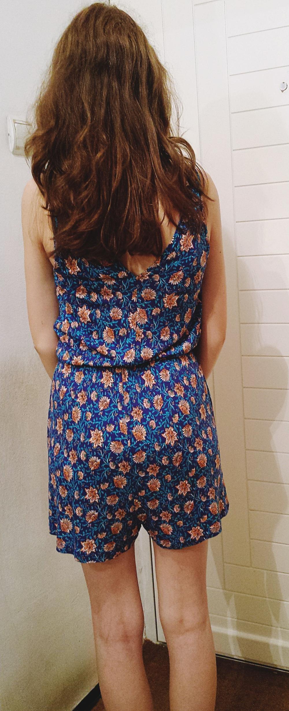 Summer Clothes - H&M Romper, Blue Floral - Worn - Back